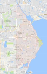 map of Safety Harbor shows ATZ irrigation service area for Safety Harbor Sprinkler Repair