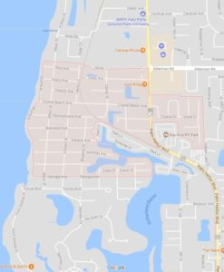 map of Crystal Beach shows ATZ irrigation service area for Crystal Beach Sprinkler Repair