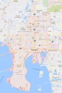 map of tampa shows our irrigation service area for Tampa Sprinkler Repair