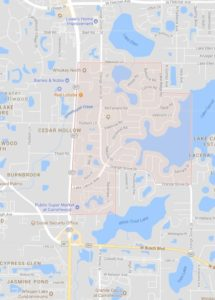 map of Carrollwood shows ATZ irrigation service area for Carrollwood Sprinkler Repair