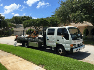 irrigation truck for outdoor landscape lighting