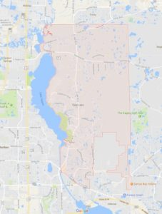 map of East Lake shows our irrigation service area for East Lake Sprinkler Repair