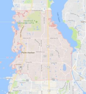 map of Palm Harbor shows our irrigation service area for Palm Harbor Sprinkler Repair