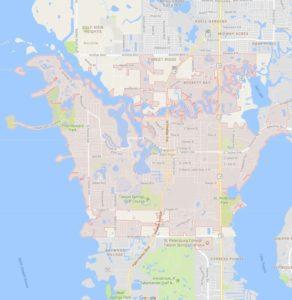 map of Tarpon Springs shows our irrigation service area for Tarpon Springs Sprinkler Repair