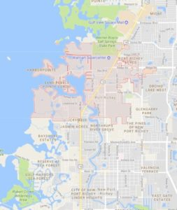map of Port Richey shows ATZ irrigation service area for Port Richey Sprinkler Repair
