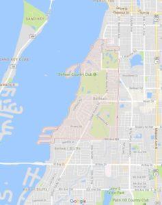 map of Belleair shows ATZ irrigation service area for Belleair Sprinkler Repair